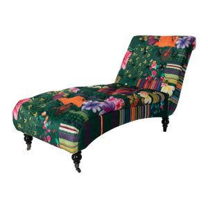 Fabric Green Patchwork Chesterfield Layla Chaise Lounge