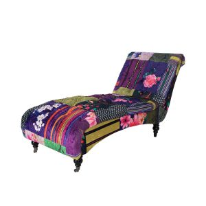 Fabric Patchwork Chesterfield Layla Chaise Lounge