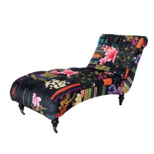 Fabric Black Patchwork Chesterfield Layla Chaise Lounge