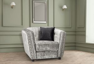 Crushed Velvet Silver Imperia Armchair with Reversible Pillows