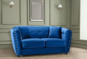 Velvet Blue 2 Seater Imperia Sofa with Reversible Pillows