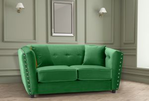 Velvet Emerald Green 2 Seater Imperia Sofa with Reversible Pillows