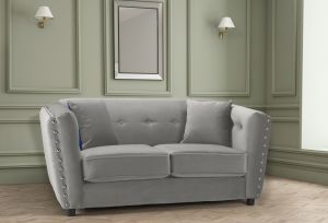 Velvet Light Grey 2 Seater Imperia Sofa with Reversible Pillows