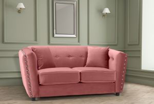 Velvet Dusky Pink 2 Seater Imperia Sofa with Reversible Pillows