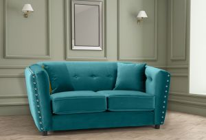Velvet Teal / Turquoise 2 Seater Imperia Sofa with Reversible Pillows