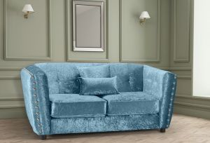 Crushed Velvet Aqua Blue 2 Seater Imperia Sofa