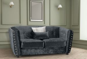 Crushed Velvet Black 2 Seater Imperia Sofa with Reversible Pillows