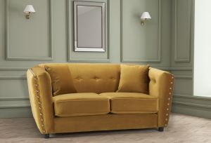 Velvet Gold 2 Seater Imperia Sofa with Reversible Pillows