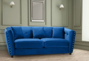 Velvet Blue 3 Seater Imperia Sofa with Reversible Pillows