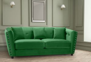 Velvet Emerald Green 3 Seater Imperia Sofa with Reversible Pillows