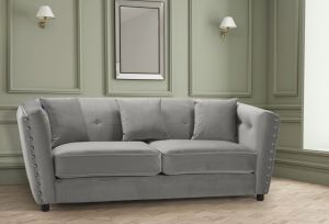 Velvet Light Grey 3 Seater Imperia Sofa with Reversible Pillows