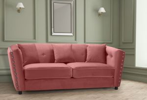 Velvet Dusky Pink 3 Seater Imperia Sofa with Reversible Pillows