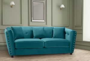 Velvet Teal / Turquoise 3 Seater Imperia Sofa with Reversible Pillows