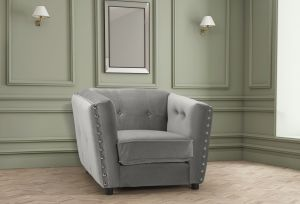 Velvet Light Grey Imperia Armchair