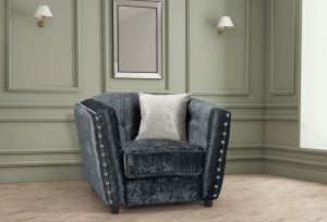 Crushed Velvet Black Imperia Armchair with Reversible Pillows