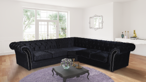 Crushed Velvet Chesterfield Black Corner 2C3 Nelson Sofa