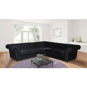 Crushed Velvet Chesterfield Black Corner 3C2 Nelson Sofa
