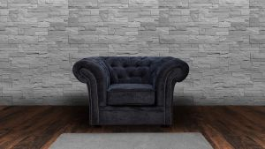 Chenille Fabric Chesterfield Dark Grey 1 Seater Nelson Sofa
