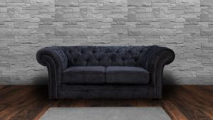 Chenille Fabric Chesterfield Dark Grey 2 Seater Nelson Sofa