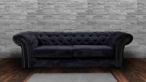 Chenille Fabric Chesterfield Dark Grey 3 Seater Nelson Sofa