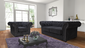 Chenille Fabric Chesterfield Dark Grey 3 + 1 Nelson Sofa Suite