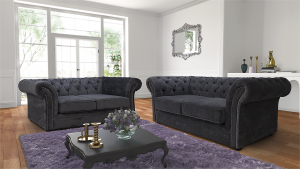 Chenille Fabric Chesterfield Dark Grey 3 + 2 Nelson Sofa Suite