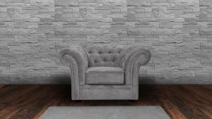 Chenille Fabric Chesterfield Light Grey 1 Seater Nelson Sofa
