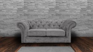 Chenille Fabric Chesterfield Light Grey 2 Seater Nelson Sofa