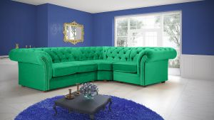 Velvet Chesterfield Bright Green Corner 2C1 Nelson Sofa