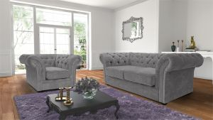 Chenille Fabric Chesterfield Light Grey 3 + 1 Nelson Sofa Suite