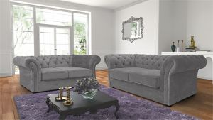 Chenille Fabric Chesterfield Light Grey 3 + 2 Nelson Sofa Suite