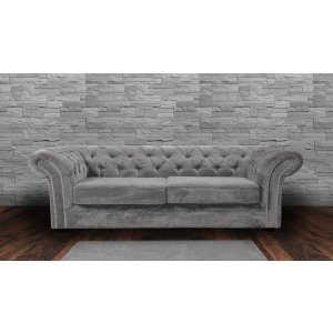 Chenille Fabric Chesterfield Light Grey 3 Seater Nelson Sofa