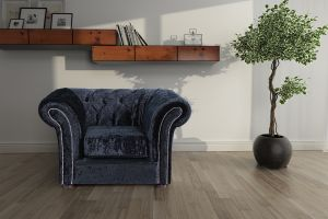 Crushed Velvet Chesterfield Black 1 Seater Nelson Sofa
