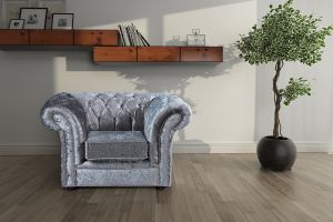 Crushed Velvet Chesterfield Silver 1 Seater Nelson Sofa