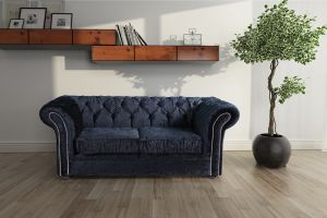 Crushed Velvet Chesterfield Black 2 Seater Nelson Sofa