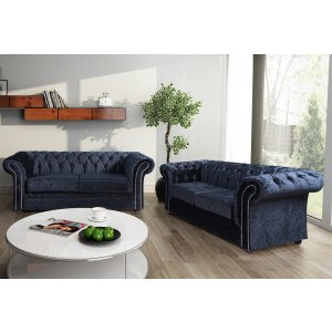 Crushed Velvet Chesterfield Black 3 + 2 Nelson Sofa Suite