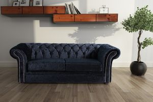 Crushed Velvet Chesterfield Black 3 Seater Nelson Sofa