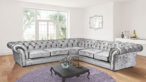 Crushed Velvet Chesterfield Silver Corner 2C2 Nelson Sofa
