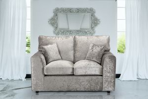 Crushed Velvet Silver 2 Seater Jessica Sofa With High Back