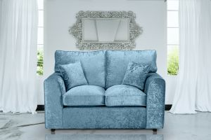 Crushed Velvet Aqua Blue 2 Seater Jessica Sofa With High Back