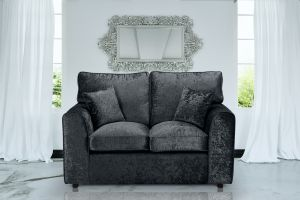Crushed Velvet Black 2 Seater Jessica Sofa With High Back