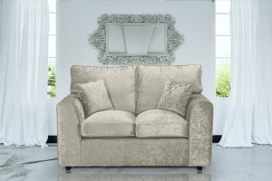Crushed Velvet Cream 2 Seater Jessica Sofa With High Back