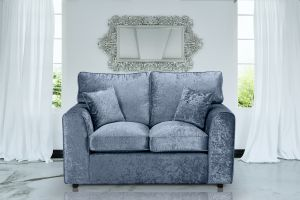 Crushed Velvet Denim Blue 2 Seater Jessica Sofa With High Back