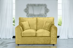 Crushed Velvet Gold 2 Seater Jessica Sofa With High Back