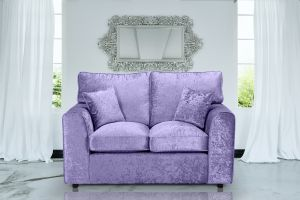 Crushed Velvet Lavender 2 Seater Jessica Sofa With High Back