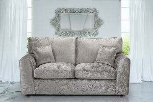 Crushed Velvet Silver 3 Seater Jessica Sofa With High Back