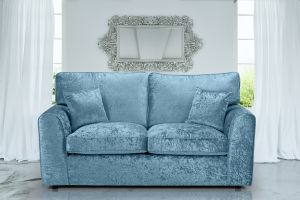 Crushed Velvet Aqua Blue 3 Seater Jessica Sofa With High Back