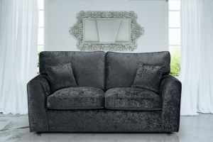Crushed Velvet Black 3 Seater Jessica Sofa With High Back