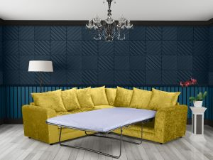 Crushed Velvet Gold 2c2 Corner Jessica Sofa Bed With Scatter Cushions