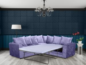 Crushed Velvet Lavender 2c2 Corner Jessica Sofa Bed With Scatter Cushions